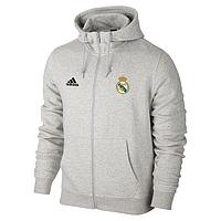 Мужская спортивная толстовка (кофта) Реал Мадрид- Адидас, Real Madrid, Adidas, серая