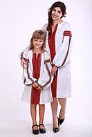 """Комплект платть для мамы и дочки """"Думка"""" (белый + красная вставка), фото 1"""