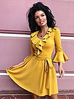 Платье кокетка с тканевым поясом / креп - дайвинг / Украина 13-204, фото 1