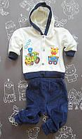 Детский велюровый костюм Паровозик для мальчика на рост 68-74 см 68