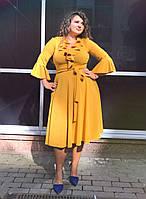 Платье кокетка с тканевым поясом / креп - дайвинг / Украина 13-1050, фото 1
