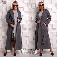 Женское стильное длинное пальто на подкладке (расцветки), фото 1