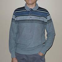 Свитер мужской плотный серый с воротом поло