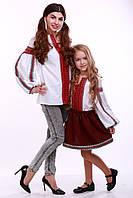"""Комплект вышиванок для мамы и дочки """"Думка"""" (белый + красная вставка), фото 1"""