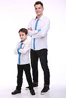 """Комплект вышиванок для папы и сына """"Думка"""" (белый + синяя вставка)"""