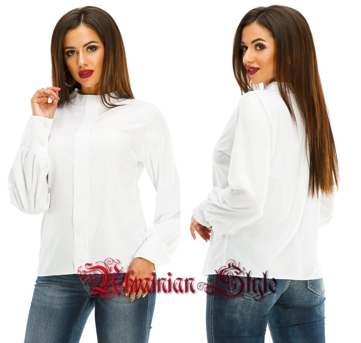 09c6c425188 Женская белая блуза-рубашка с длинным рукавом