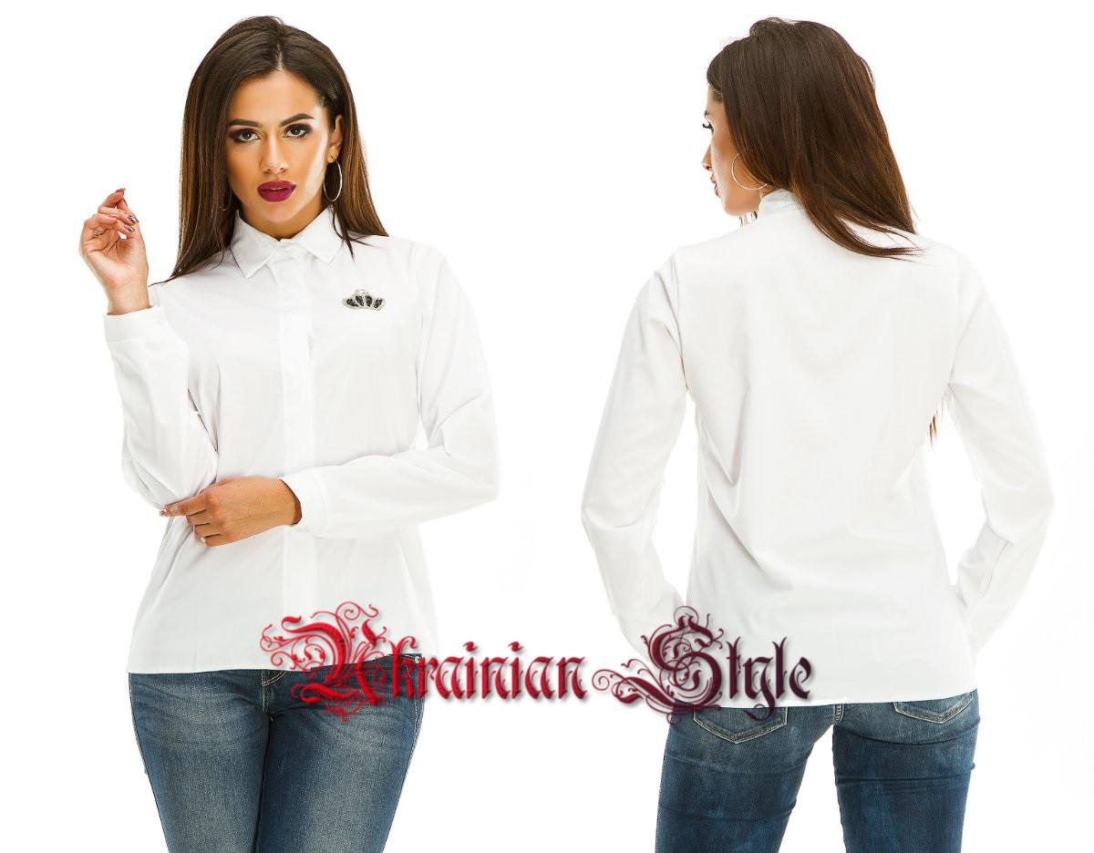 117d1c9052b Женская белая блуза-рубашка с длинным рукавом.