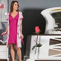 Комплект Домашний халат и ночная рубашка Т  05019  Малиновый