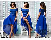 Вечірня шифонова сукня, доповнена кружевним гипюром , фото 1
