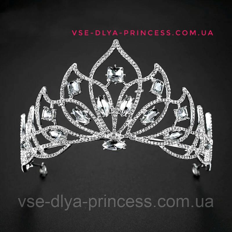 Свадебная корона, диадема, тиара, под серебро с камнями, высота 7,5 см.