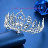 Свадебная корона, диадема, тиара, под серебро с камнями, высота 7,5 см., фото 2