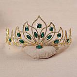 Свадебная корона, диадема, тиара, под серебро с камнями, высота 7,5 см., фото 3