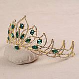 Свадебная корона, диадема, тиара, под серебро с камнями, высота 7,5 см., фото 4