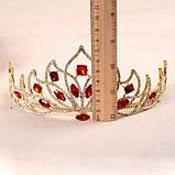 Свадебная корона, диадема, тиара, под серебро с камнями, высота 7,5 см., фото 6