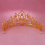 Свадебная корона, диадема, тиара, под серебро с камнями, высота 7,5 см., фото 7