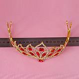 Свадебная корона, диадема, тиара, под серебро с камнями, высота 7,5 см., фото 8