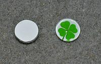 Небольшой кабошон зеленый листок клевера , 12.0 мм