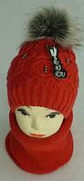 Комплект женский шапка и шарф хомут м 6093, разные цвета