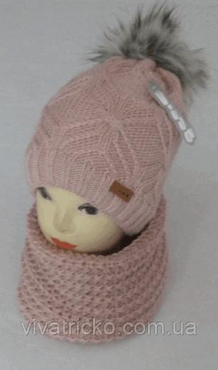 Комплект шапка с бубоном и баф зимний м 6094, разные цвета
