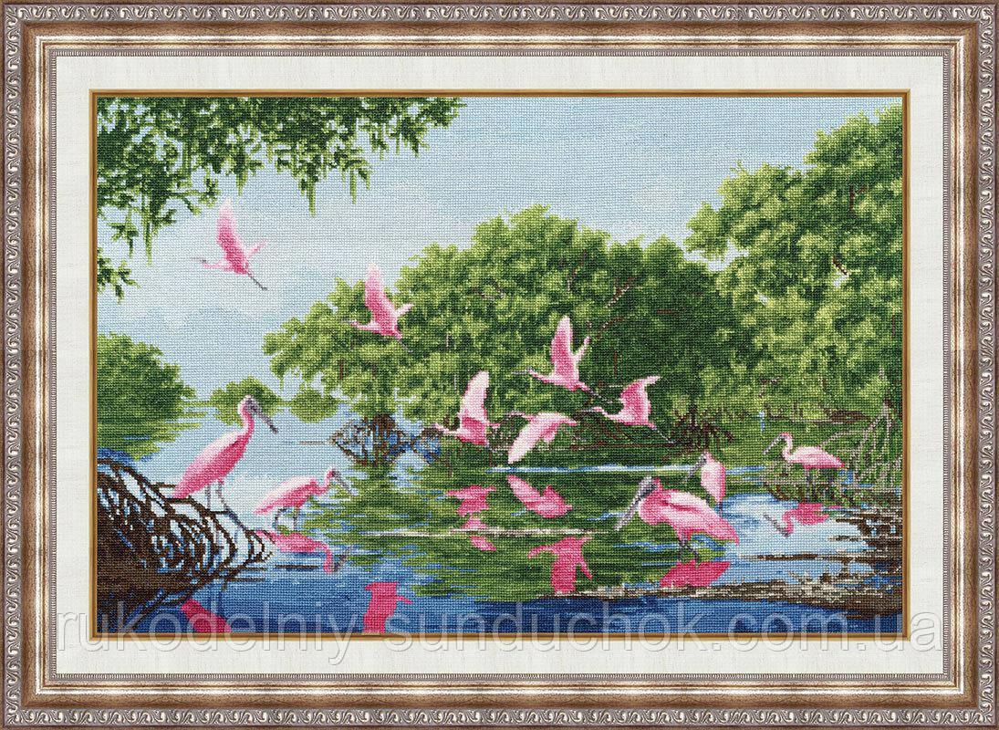 """Набор для вышивания крестом ТМ Золотое Руно """"Розовые пеликаны. Лирический пейзаж """" ЛП-040"""