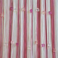 Шторы нити Радуга со стеклярусом белая, розовая, фрезовая №1+5+6