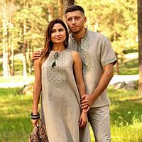 Серая вышиванка мужская и серое платье с вышивкой, фото 1
