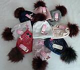 Шапка вязаная для девочки с бантиком м 6095, разные цвета, фото 3