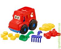 """Сортер-автобус """"Бусик"""" №2: автобус с вкладышами, лопатка и грабельки (ЛГ4), две большие пасочки (П4) COLORplast"""