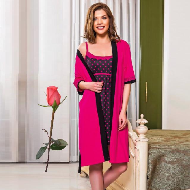 Женский халат в комплекте с ночной рубашкой Т  77510