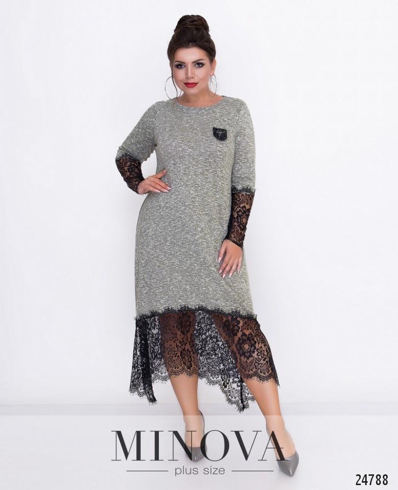 Длинное платье с гипюровым подолом (в расцветках)