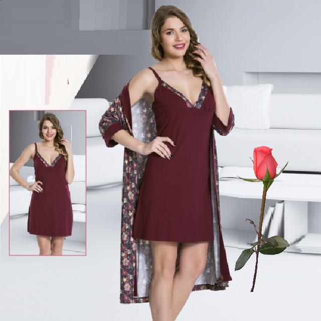 Комплект  Женский халат и ночная рубашка Т 77513  Марсала