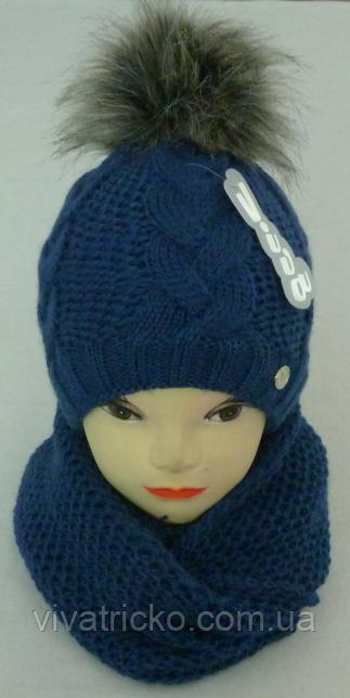 Комплект шапка с бубоном и шарф-хомут зимний м 6120 разные цвета