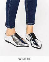 Металлик лоферы asos на низком ходу, туфли серебро большие размеры, фото 1