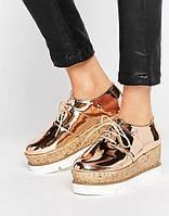 Дерби на платформе asos туфли слипоны оксфорды лоферы золото большие размеры, фото 1