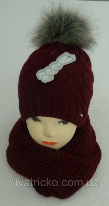 Комплект шапка с бубоном и шарф-хомут зимний м 6136, разные цвета