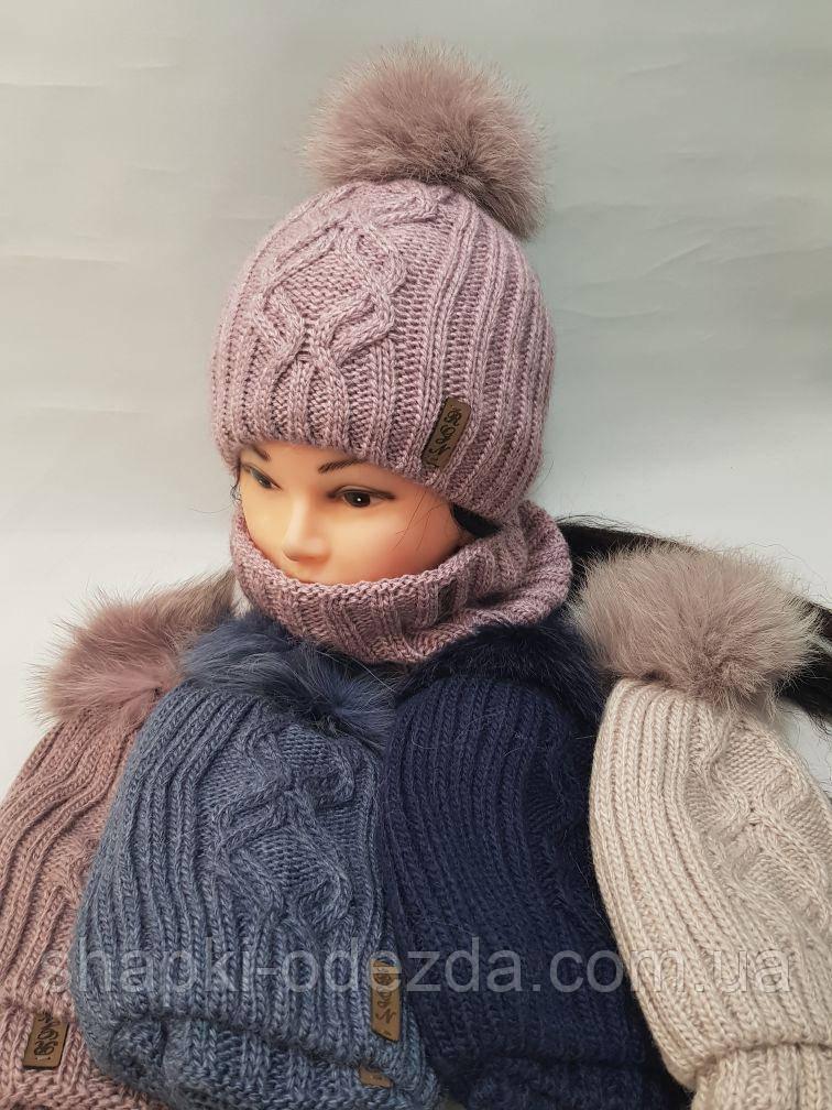 Шапка зимняя женская на флисе +баф на флисе натуральный бубон (361)