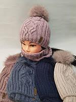 Шапка зимова жіноча на флісі +баф на флісі натуральний бубон (361)