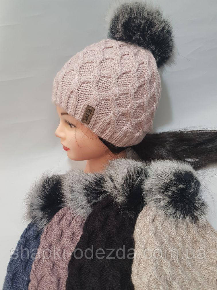 Шапка зимняя женская на флисе натуральный бубон