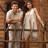 Вышитая мужская рубашка с коротким рукавом и женское вышитое расклешенное платье с американской проймой, фото 1