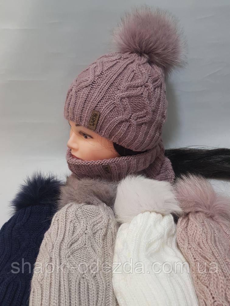 Шапка зимняя женская на флисе + баф флис натуральный бубон