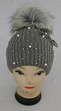М 6148 Шапка вязаная для девочки нить кашемир , флис, разные цвета, фото 2