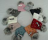 М 6148 Шапка вязаная для девочки нить кашемир , флис, разные цвета, фото 3