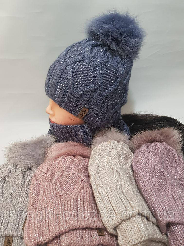 Шапка зимняя женская флис + баф на флисе натуральный бубон