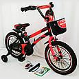 Детский велосипед c родительской ручкой и корзинкой HAMMER 16 дюймов S500 боковые колеса и насос от 5 лет, фото 5