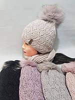 Шапка зимова жіноча на флісі + хамут натуральний бубон
