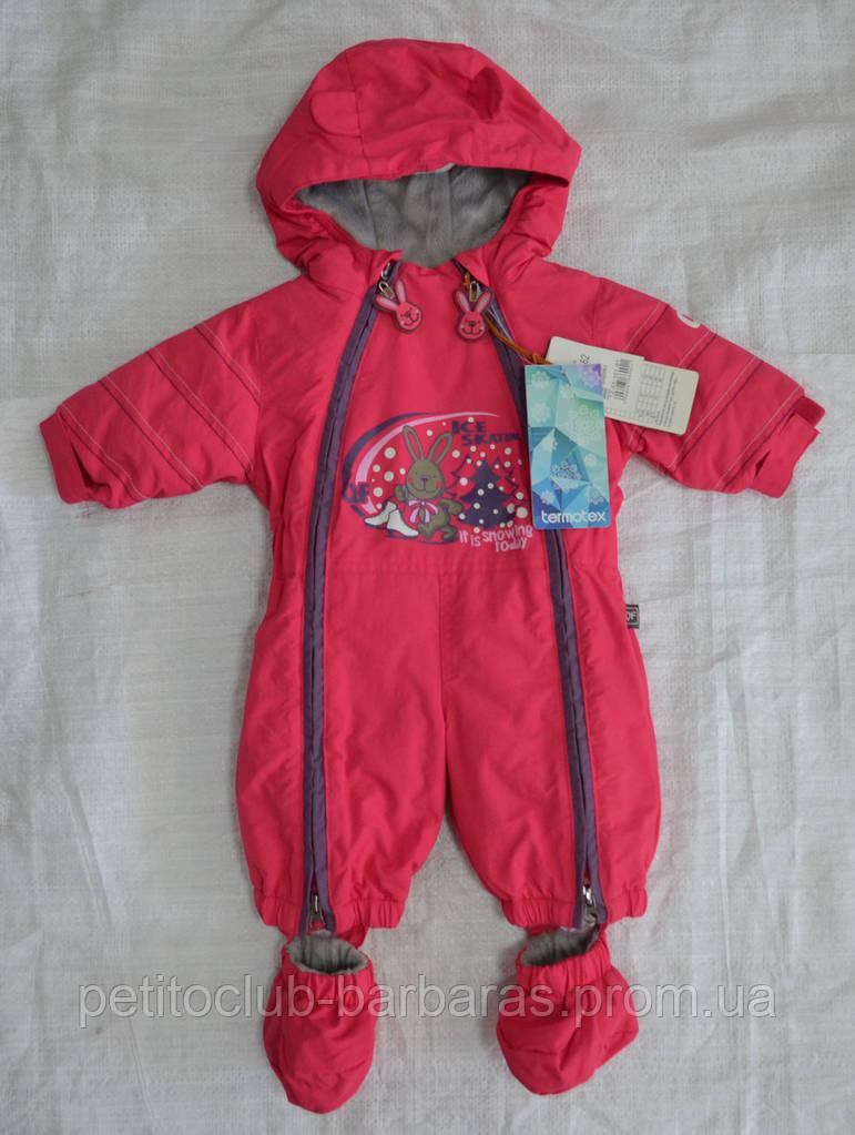 Зимний термокомбинезон для младенцев Зайчик розовый (QuadriFoglio, Польша)