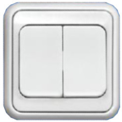 """ВСп10-2-0-ЭБ Выключатель 2кл. проходной (белый) серия """"Элита"""""""