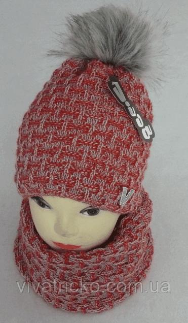 Комплект шапка с бубоном и шарф-хомут зимний м 7022 разные цвета