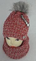 Комплект шапка с бубоном и шарф-хомут зимний м 7022 разные цвета, фото 1
