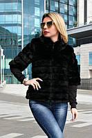 Женский полушубок черный с рукавом 3/4 из меха под норку F-7009211